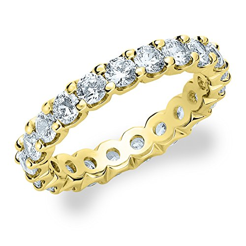 18K Yellow Gold Diamond Basket Prong Eternity Ring (2.0 cttw, F-G Color, VVS1-VVS2 Clarity) Size 13