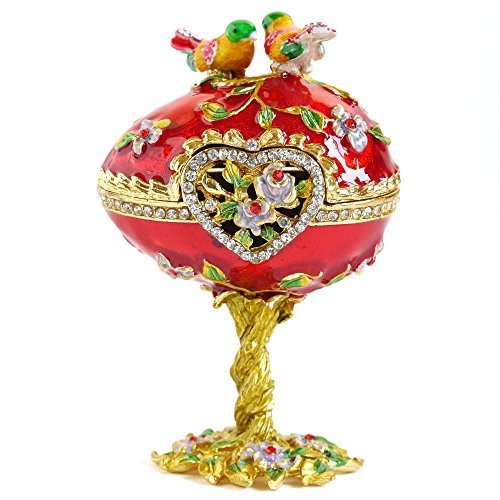 Vintage Style Hand Painted Love Bird Faberge Egg Rhinestone Jewerly Trinket Box