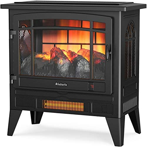 """TURBRO Suburbs TS25 Electric Fireplace Infrared Heater - Freestanding Fireplace Stove with Adjustable Flame Effects, Overheating Protection, Timer, Remote Control - 25"""" 1400W Black"""