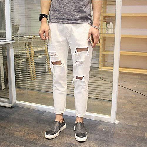 Pantalones Pantalones Laisla Blanco De fashion Extremos Sólido Chicos Mezclilla Color Clásico De Pantalones De Los De Mezclilla Destruidos De Mezclilla Mezclilla Jeans Hombres De aa5rp