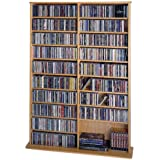 Leslie Dame CDV-1000 High Capacity Oak Veneer Multimedia Storage Rack, Oak