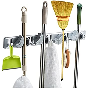 Multi Functional Mop Rack Senior Aluminum Clip On Broom Holder And Garden  Tool Organizer For
