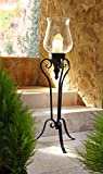 PierSurplus Large Floor Standing Metal and Glass Hurricane Candle Holder Product SKU: CL229317