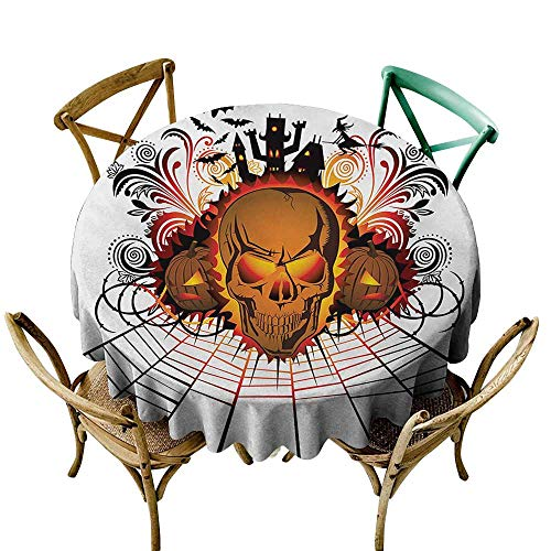 Dustproof Tablecloth Halloween Angry Skull Face on Bonfire Spirits of Other World Concept Bats Spider Web Design Party D71 Multicolor ()