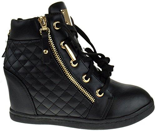 Alison 14 Dames Lace Up Gewatteerde Hoge Top Wedge Sneaker Zwart