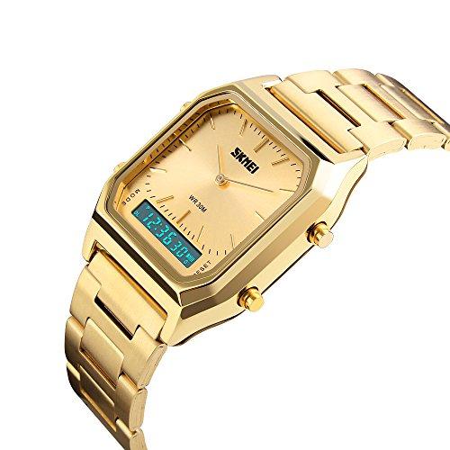SKMEI Gold Digital Watch for Men Women Analog Digital Display Stainless Steel Waterproof