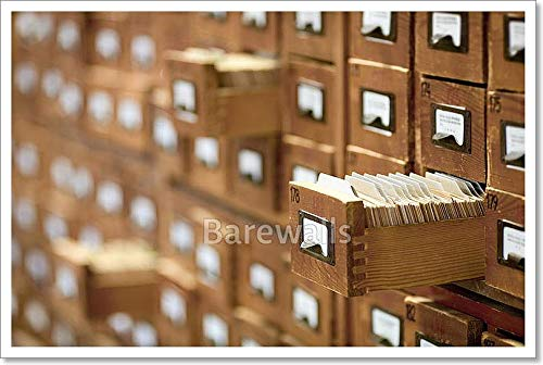 (Barewalls Database Concept. Vintage Cabinet. Library Card Or File Catalog. Paper Print Wall Art (16in. x 24in.))