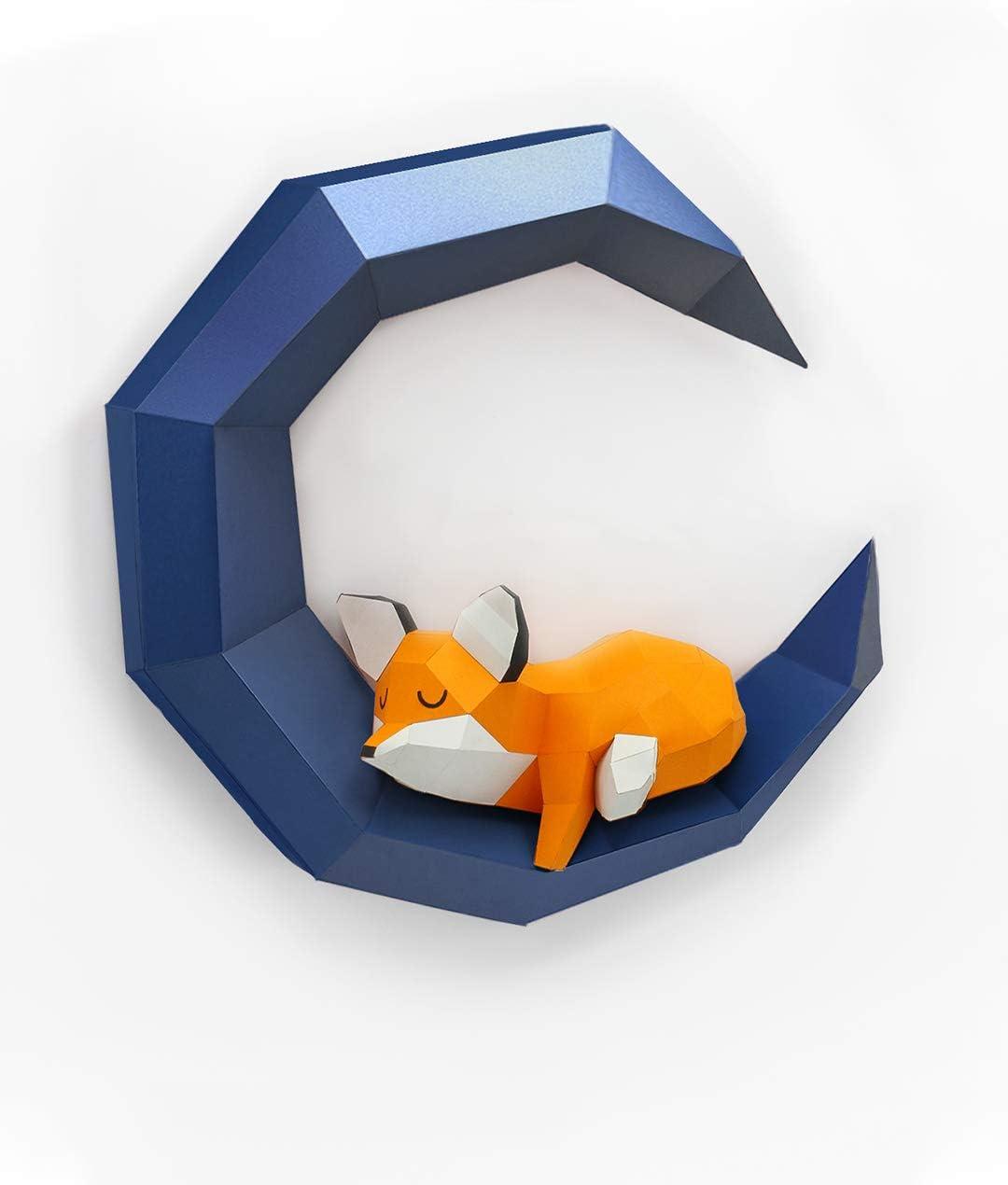 Holographiscer Mond Oh Glam Home Kit DIY Schlafender Fuchs auf dem Mond Papercraft Kit Wandtroph/äe Pappe 3D Origami Skulptur 3D Puzzle 3D Kinderdeko VORGESCHNITTEN