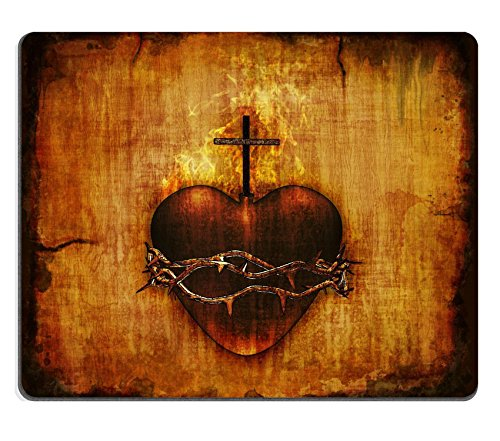 Liili Mouse Pad Natural Rubber Mousepad The Sacred Heart of Jesus on parchment 3D render and digital painting Photo 12426488