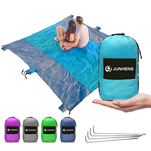 JUNHENG Sand Free Outdoor Beach Blanket/Picnic Blanket- Huge-7' x 9' Best Mat for Festivals & Hiking-Very Soft & Quick-Dry Parachute Nylon Pocket Blanket-6 Weightable Pockets+4 Anchor -for 7 Adult