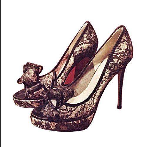 Fein mit weiblichen Schuhe, Fisch Mund mit feinen, mit weiblichen Sandalen, silbrig, 34