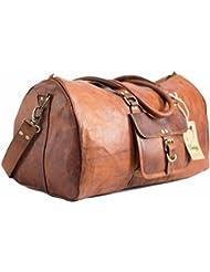 UNS 21 Inch Vintage Leather Duffel Travel Gym Sports Overnight Weekend Duffel Bag