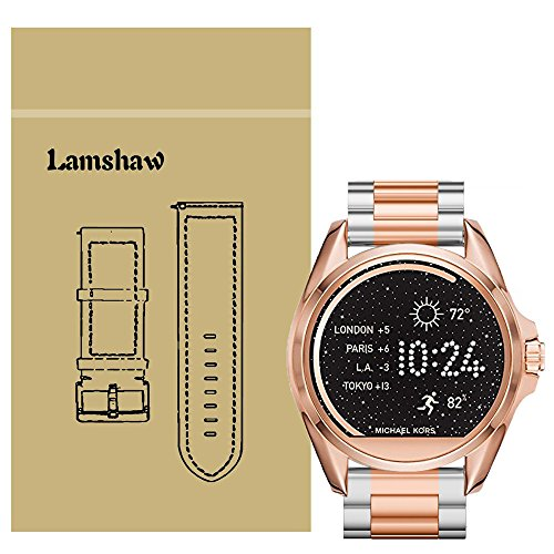 for Michael Kors Access Bradshaw Bands, Lamshaw Stainless Steel Metal Replacemet Straps for MK Access Touchscreen Bradshaw Smartwatch (Metal-Silver-Rose Gold)