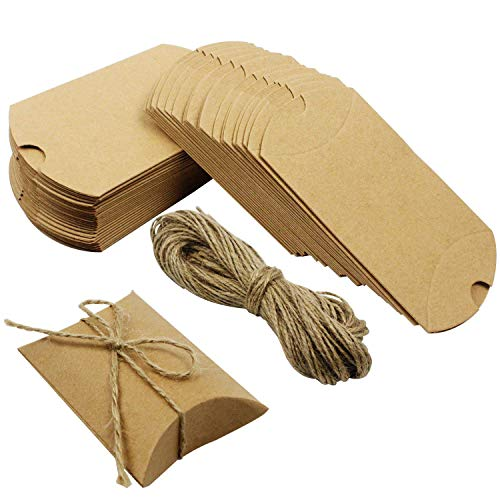 (Outuxed 100PCS Kraft Paper Pillow Candy Box for Wedding Party Favor + 100 PCS Jute Twine)