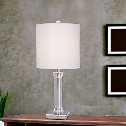 25.5 inch Clear Crystal & Polished Nickel Metal Table Lamp With LED Nightlight - Enterprises Polished Nickel Floor Lamp