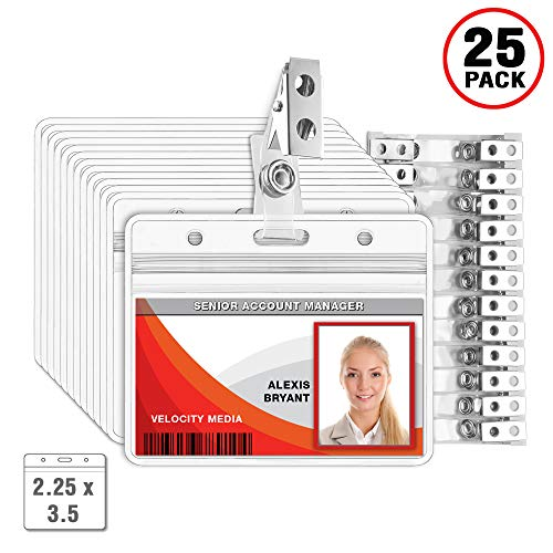 MIFFLIN Horizontal Plastic Card Holder with Clip, ID Badge Holder with Clip (Clear, 2.25x3.5 inch, 25 - Lapel Badge