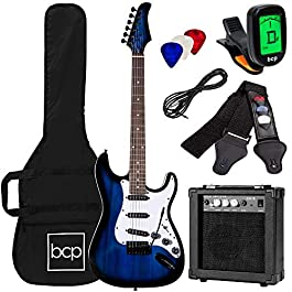 Best Choice Products 39in Full Size Beginner Electric Guitar Starter Kit w/Case, Strap, 10W Amp, Strings, Pick, Tremolo…