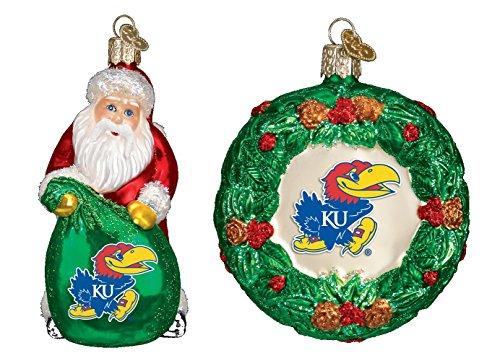 Set of University of Kansas Jayhawks Santa Claus and Wreath Christmas Ornaments