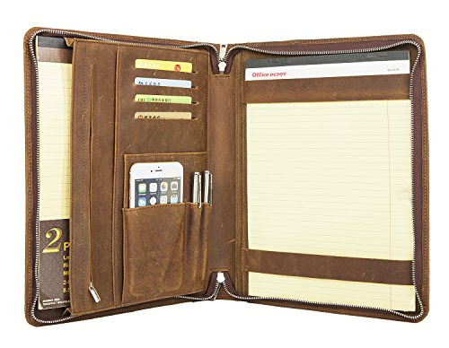 Personalized Leather Padfolio (ZH Custom Personalized Crazy-Horse Full-grain Leather Padfolio Case with Notepad Holder / Portfolio for iPad Pro/Micro Surface Pro, Average Size, Brown)