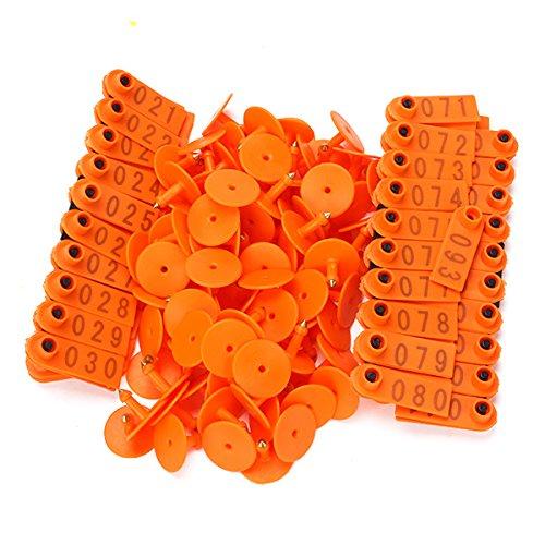 WEONE número 1-100 plástico de color naranja las orejas del ganado etiqueta Para Cabra Oveja Cerdo paquete de 100 JS-11501202