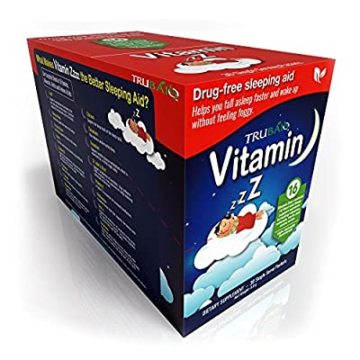 TruBaio Vitamin Zzzz - Natural Sleep Aid Powder Packets - Relaxation and Sleep Enhancer with Vitamins Minerals Herbs and Amino Acids to Calm Stress - Non-GMO - 30 Day Supply