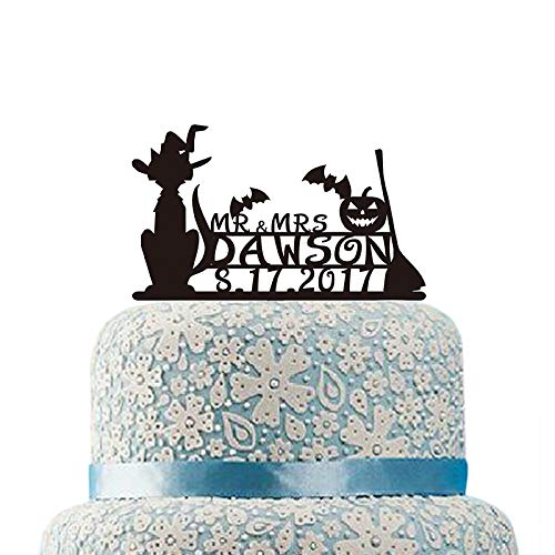 Halloween Wedding Cake Topper Pumpkin Silhouette Cake Topper Custom Mr Mrs Cake Topper with Name Date