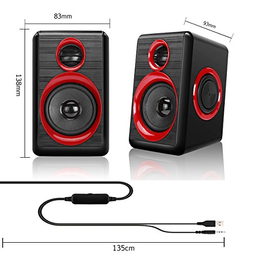 Computer Speakers With Heavy Bass,Subwoofer, Volume Control, 3.5mm Audio, USB Wired Powered Built-in Four Loudspeaker Diaphragm Multimedia Speaker for PC/Laptops/desktop/ASUS/ACER Computer (RED) by TOMOT (Image #4)
