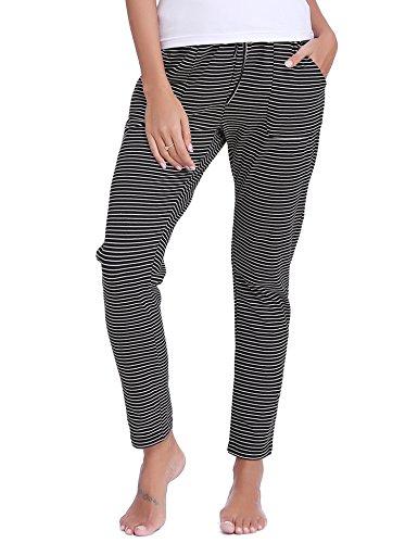 Hawiton Women's Striped Drawstring Sleep Pants Cotton Pj Bottoms with Pockets