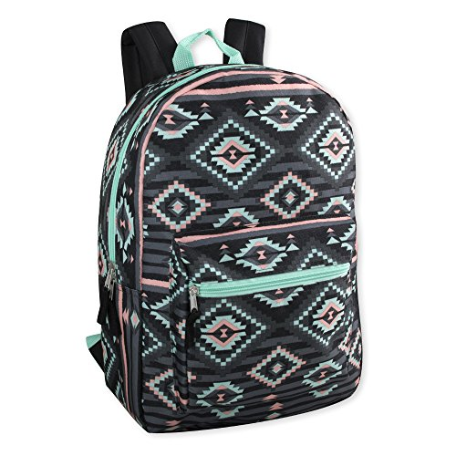Trailmaker Girls All Over Printed Backpack 17 Inch With Padded Straps (Black Aztec)