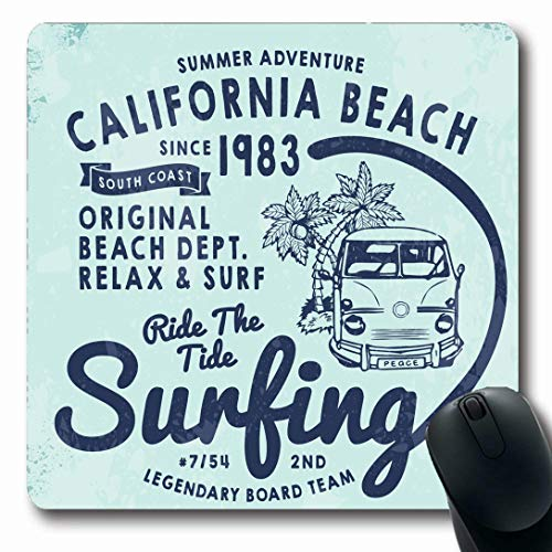 Ahawoso Mousepads for Computers Summer California Surf Tee Retro Jersey Vintage Lettering Beach Adventure Child Design Oblong Shape 7.9 x 9.5 Inches Non-Slip Oblong Gaming Mouse Pad ()