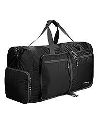 Qyuhe 80L Travel Duffel Bag Foldable for gym sports (Black)