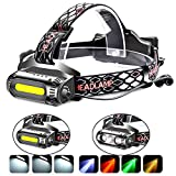 Rechargeable Headlamp Flashlight,COB and LED Headlamp,2500 Lumens Brightest Head Lamp Flashlight, Headlight USB Rechargeable,IPX4 HeadLamps, Best for Camping, Outdoors, Adults.Activities -  LinaTech