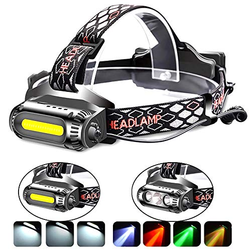 Rechargeable Headlamp Flashlight,COB and LED Headlamp,2500 Lumens Brightest Head Lamp Flashlight, Headlight USB Rechargeable,IPX4 HeadLamps, Best for Camping, Outdoors, Adults.Activities ()