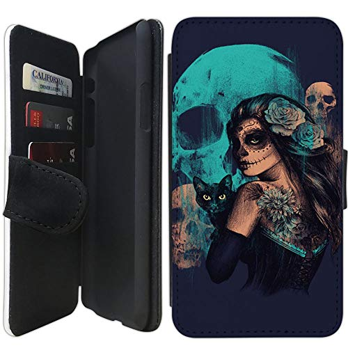 Flip Wallet Case Compatible with iPhone Xs MAX (6.5 inch) (Day of The Dead Women Black Cat and Skull) with Adjustable Stand and 3 Card Holders | Lightweight | Includes Free Stylus Pen by Innosub -