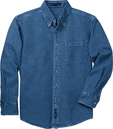 Port Authority - Heavyweight Denim Shirt. S100 - Dark Blue Stonewashed - XX-Large