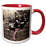 3dRose Sandy Mertens Ostrich Designs - Vintage Lady on an Ostrich - 11oz Two-Tone Red Mug (mug_8057_5)