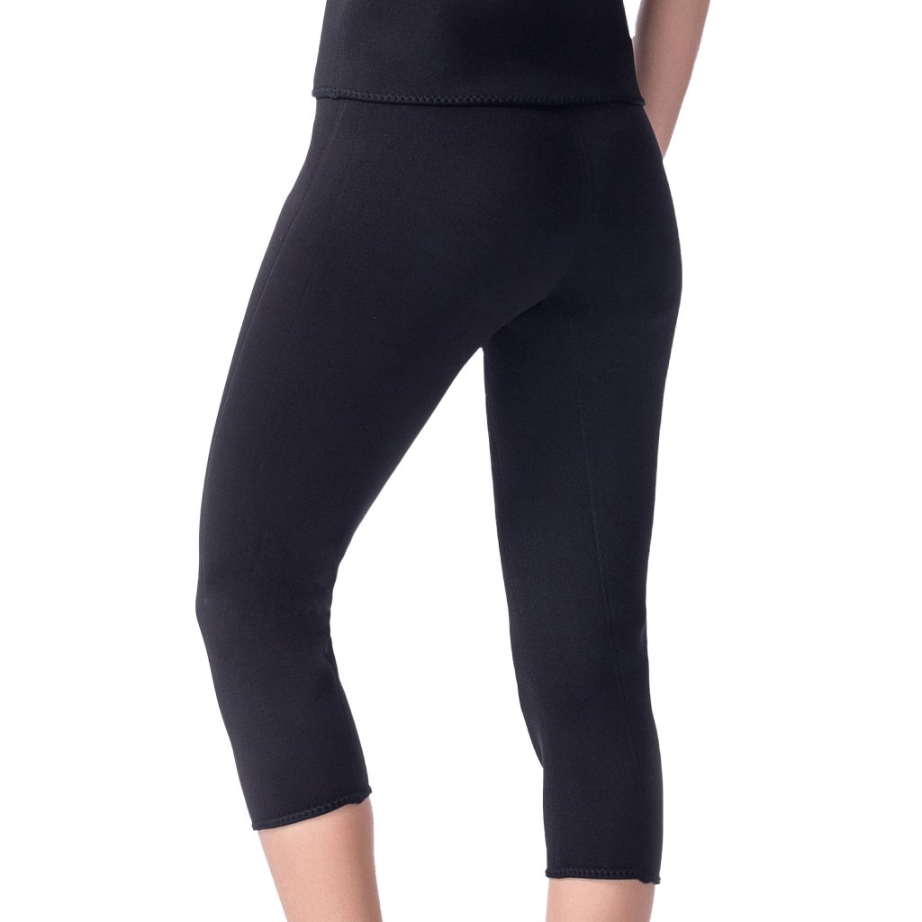 Frauen Abnehmen Ankle Hosen Neopren Sweat Sauna Körper Shaper Leggings Schwarz