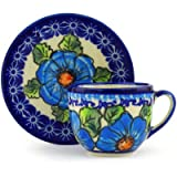 Polish Pottery Espresso Cup with Saucer 3 oz Bold Blue Poppies UNIKAT