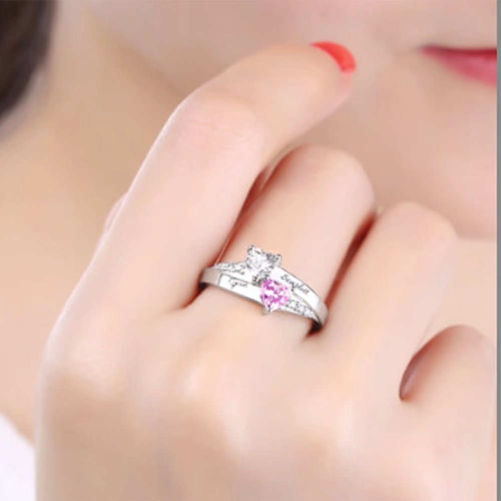 Amazon.com: Hua Meng Two Heart Engagement Ring Promise Ring For Her ...