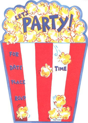 Lil' Pickle Kids Popcorn Invitations, Fill-in Style, 8 Pack ()