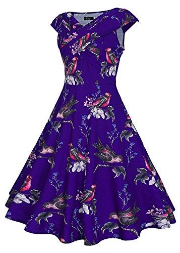 Ruiyige - Vestido - para mujer Mancherons-Impression Oiseau Bleu