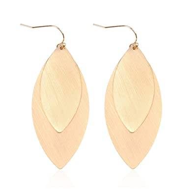 f0648803d RIAH FASHION Classic Geometric Leaf Cutout Open Hoop Earrings - Simple  Metallic Marquise Pointed Oval Statement