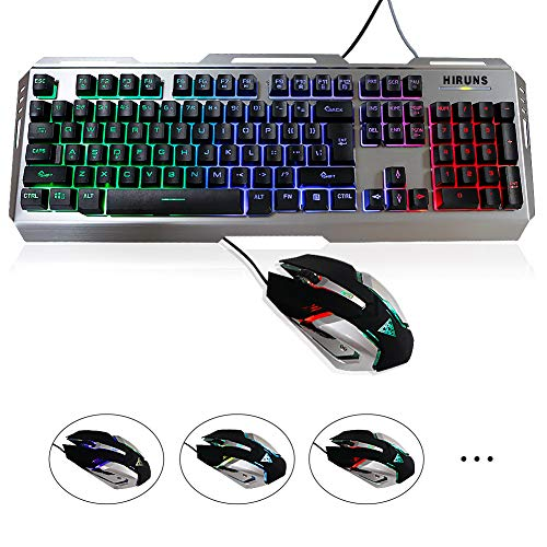 HIRUNS Gaming Keyboard Gaming Mouse Combo Mix LED Backlit Keyboard and Mouse Set Mechanical Keyboard USB Wired Waterproof IPX6 Multimedia Keyboard for Office or Gaming - Mix Combo