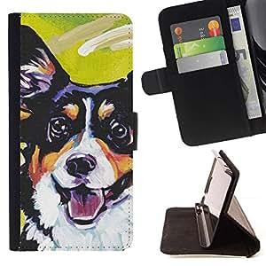 Momo Phone Case / Flip Funda de Cuero Case Cover - Corgi Lancashire Heeler Dog Art Negro; - Sony Xperia M2