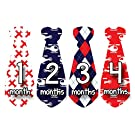 Months in Motion 757 Monthly Baby Stickers Necktie Tie Baby Boy Months 1-12 Airplane Helicopter
