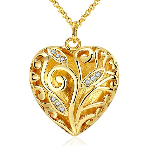 Fashion necklaces Angela_max Women's Gold Plated Classical Engraved Zircon Flower Carving Heart Pendant Chain Necklace Mother's Day