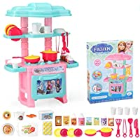 HALO NATION® Mini Kitchen Set Toy Kid Play Cooking Toys - Kitchen Set for Girls - 47 pcs Cartoon Themed Series Kitchen playset with Full Utensils Set (Frozn Theme)