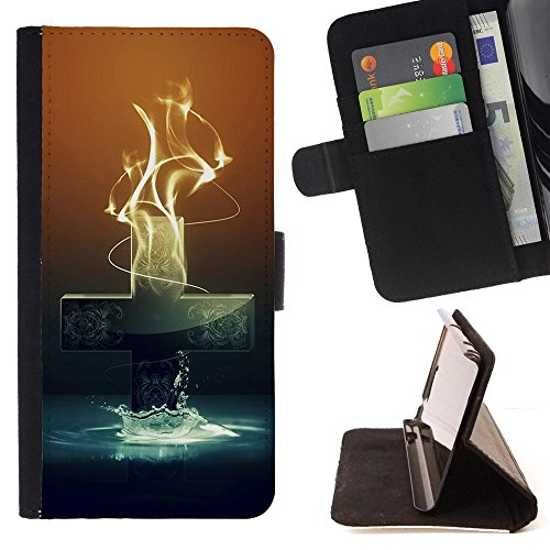 BOOK CASE - FOR Lumia 530 - The Cross of Radiant fire - Folio PU Wallert Leather Case