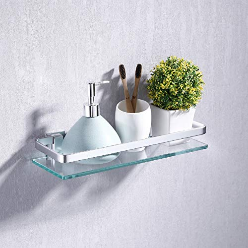 KES Aluminum Bathroom Glass Shelf Tempered Glass Rectangular 1 Tier Extra Thick Silver Sand Sprayed Wall Mounted, A4126A (Wall Mounted Sink Bracket)