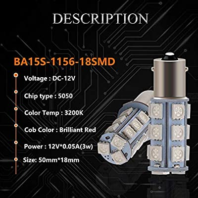 EverBright 1156 Led Bulb Red, BA15S 1141 1073 7506 Base LED Replacement Bulb for RV Camper SUV MPV Car Turn Signal Light Bulb Brake Light Lamp Backup Lamps Bulbs 18SMD 5050Chips DC-12V, Pack of 4: Automotive